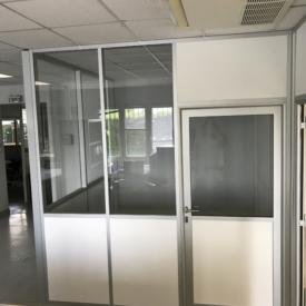 Cloison modulaire blanc semi vitré